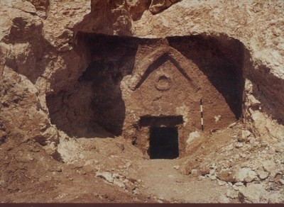 The Inner Façade of Talpiot Tomb A with the outer chamber blown away by the explosion.